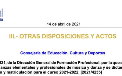 Resolución para el proceso de admisión de enseñanzas elementales y profesionales del 16 de abril al 17 de mayo.